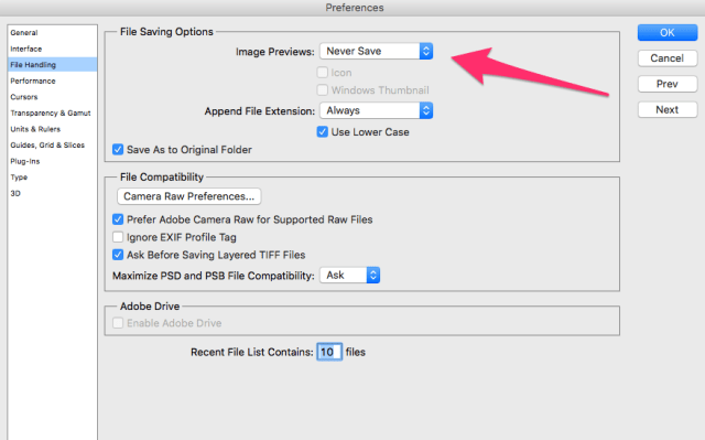 "Photoshop Configuration for ""Could Not Save File Because Write Access Was Not Granted"""