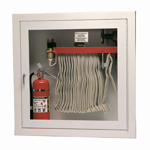 Cabinet for Rack with 100 Ft Fire Hose and Extinguisher
