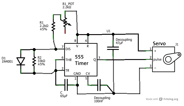 555 servo controller solder spot