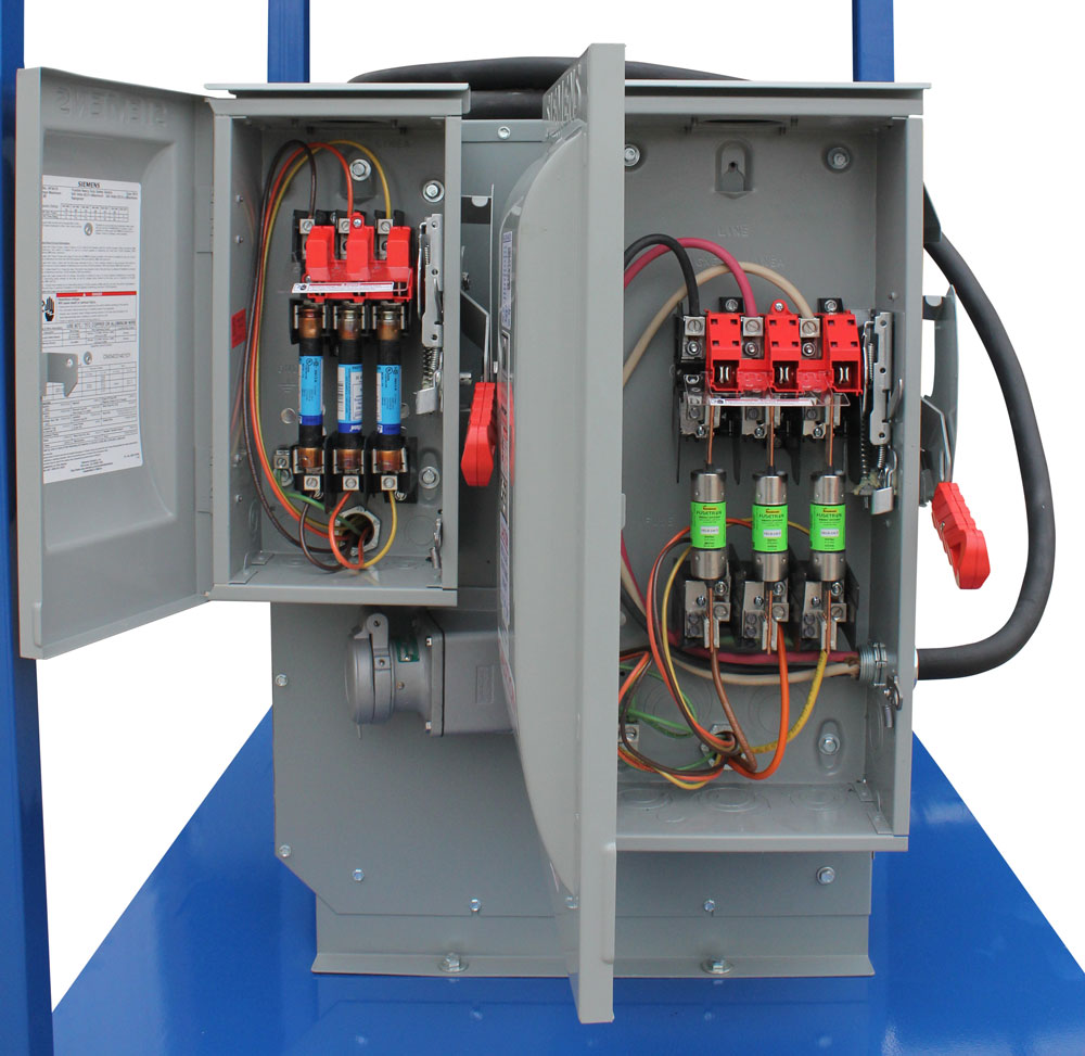 hight resolution of the secondary main breaker protects one 125v 20 amp 1 pole breaker protecting one 5 20r gfci receptacle with watertight cover and four 250v 100 amp