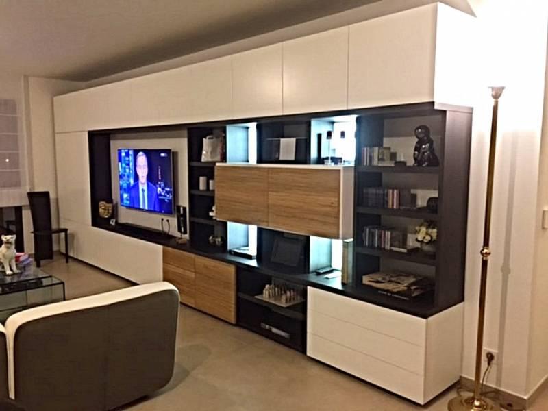 meuble tv contemporain en placage chene