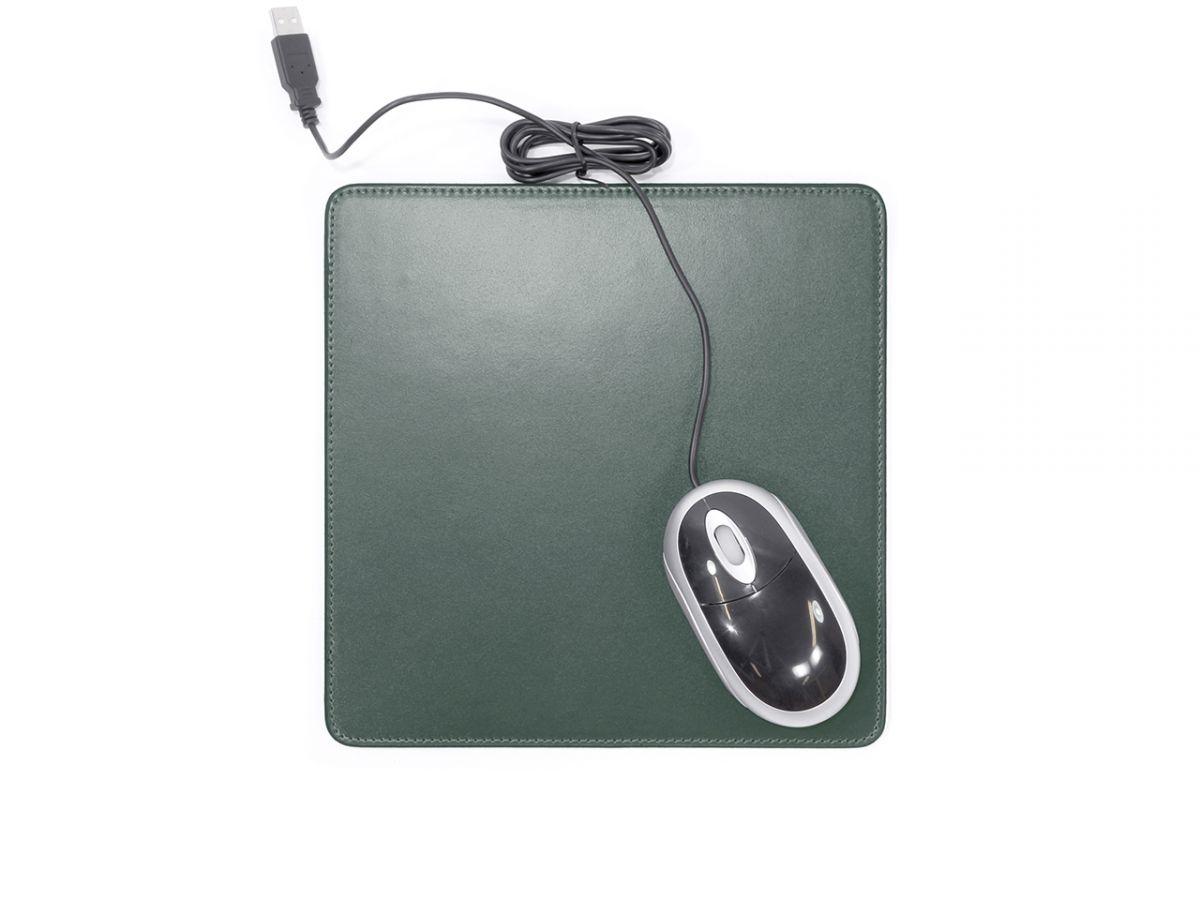tapis souris en cuir vert anglais