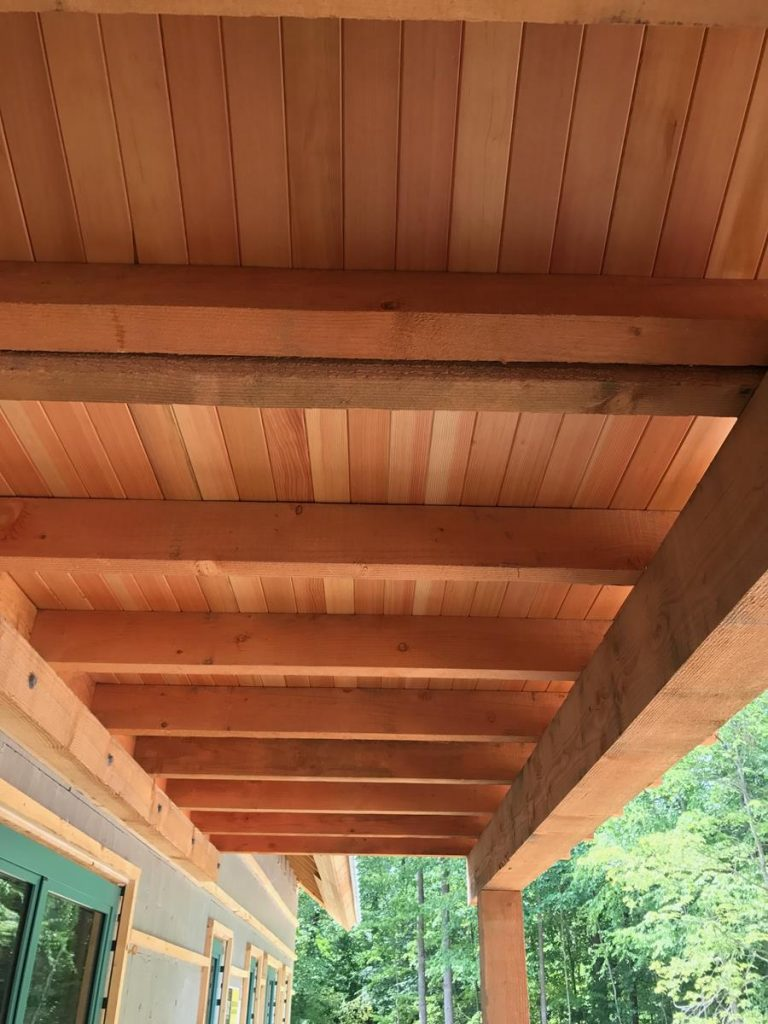 outdoor porch chairs behind the chair show custom douglas fir ceiling, saratoga county, charlton ny