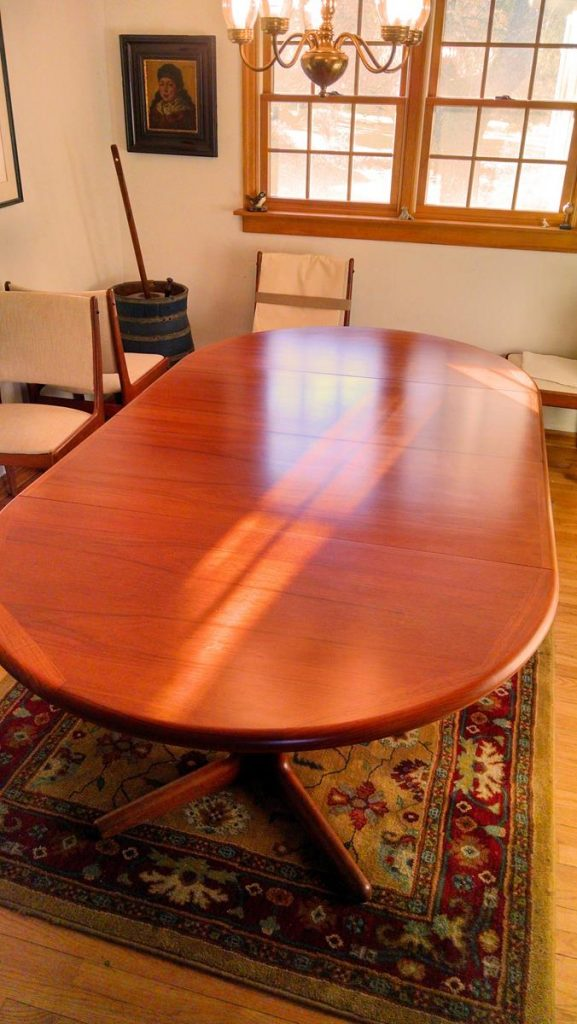 Teak Dining Table Refinish Capital District Saratoga NY