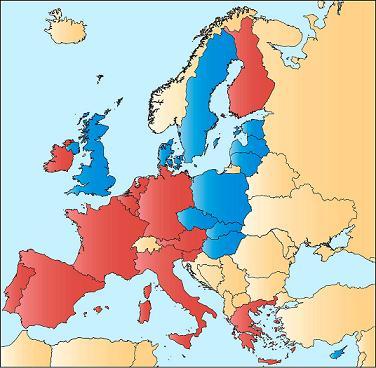 Países de la Unión Europea que pertenecen a la zona Euro (en rojo)
