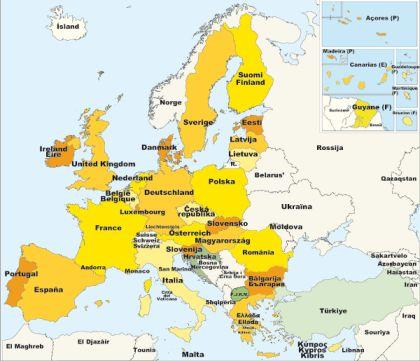 Los países que forman actualmente la UE son: Alemania, Astria, Bélgica, Bulgaria, Chipre, Dinamarca, España, Eslovaquia, Eslovenia, Estonia, Finlandia, Francia, Grecia, Hugría, Irlanda, Italia, Letonia, Lituania, Luxemburgo, Malta, Paises Bajos, Polonia, Portugal, Reino Unido, República Checa, Rumanía y Suecia.
