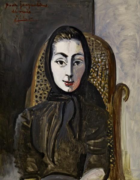 Jacqueline con ècharpe negro