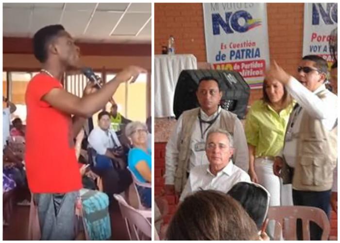 """""""Negro asqueroso guerrillero triple hp… sepa que el pueblo está con Uribe"""""""