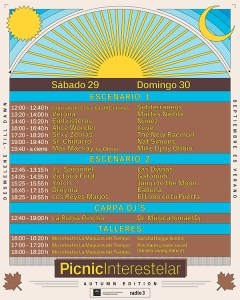 Horarios de Picnic Interestelar Sevilla 2018.