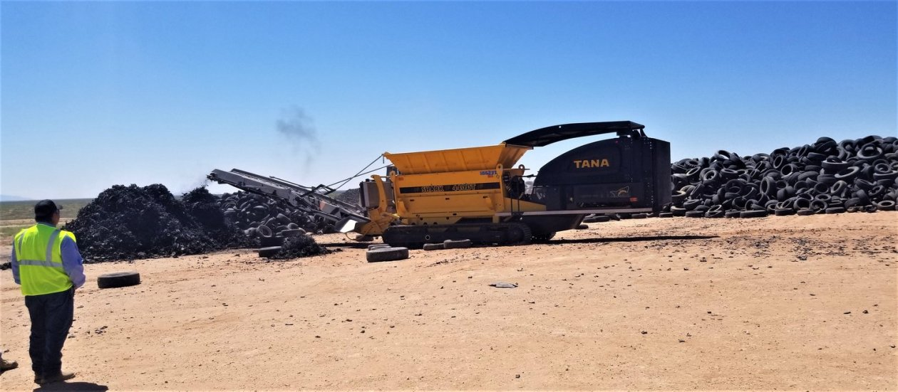 The TANA Shark shredder tears up old tires so SCSWA can use the shredded material for beneficial uses. The tire shreds will have a second life as alternative daily cover over the regional trash that buried at Corralitos Regional Landfill.