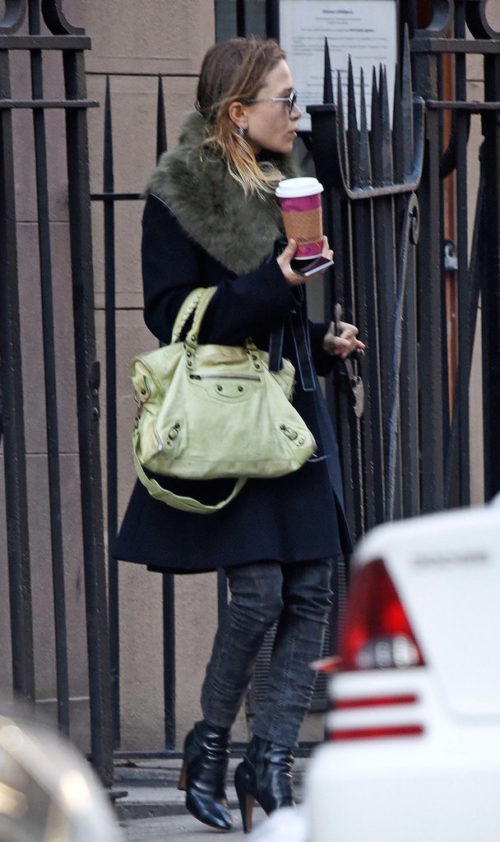 Olsens-Fashion-Mary-Kate-Olsen-Twins-Style-Sunglasses-Celine-Fur-Collar--Wrap-Tie-Coat-Green-Balenciaga-Motorcycle Bag