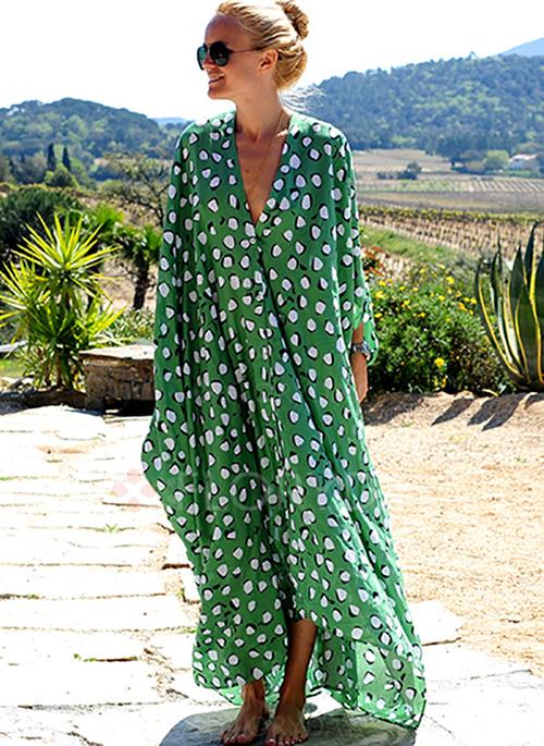 Vestido verde de lunares playero_laselectiva