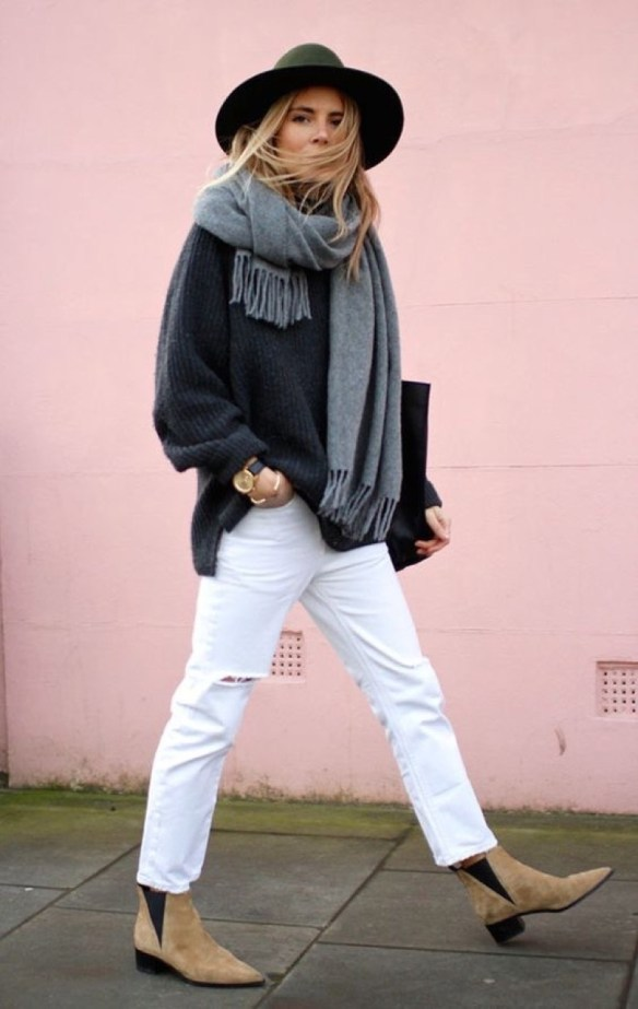How to wear white jeans, winter look with white jeans - La Selectiva