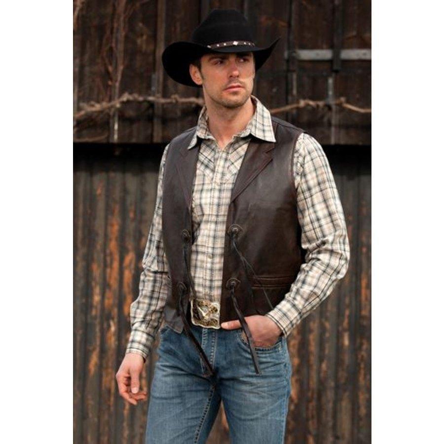 Gilet uomo in pelle Bonanza Stars  Stripes  Abbigliamento Western  La Selleria Online