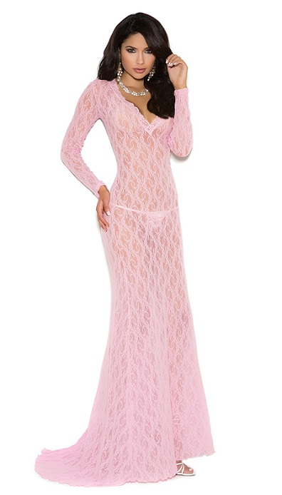 Full Length  Long Sleeve All Lace Nightgown