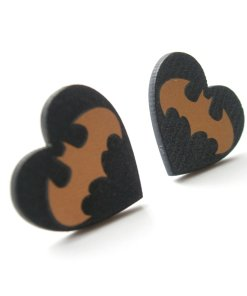Batman heart stud earrings