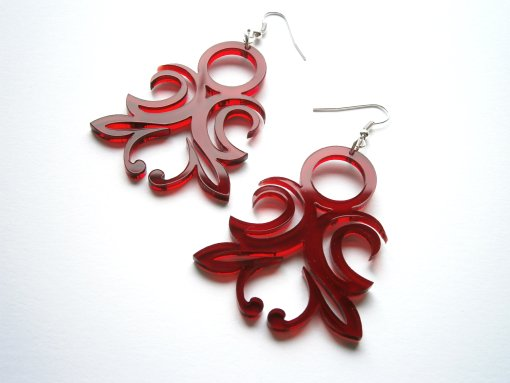 Laser Cut Transparent Red Acrylic Original Ornament Earrings