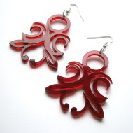 Laser Cut Transparent Red Acrylic Original Ornament Earrings
