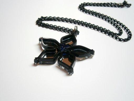 Wayfinder Necklace, Black and Mirror Plastic