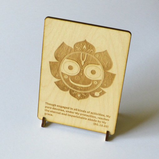 Jagannath Postcards laser cut from woode and engraved with bhagavad gita text
