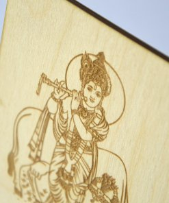 Vishnu with cow laser cut and engraved