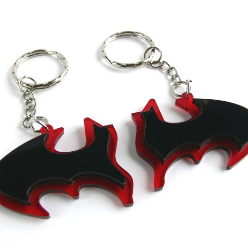 Batman best friends keychains Laser cut from red and black plastic