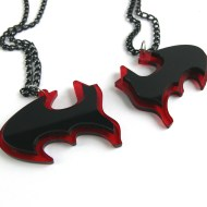Batman best friends necklaces Laser cut from red and black plastic