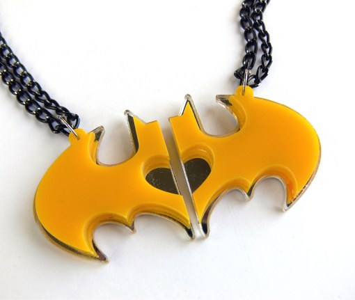 Best friend mood Batman necklaces Laser cut from mirror and yellow plastic