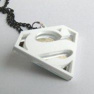 Superman necklace Laser cut white and mirror plastic pendant