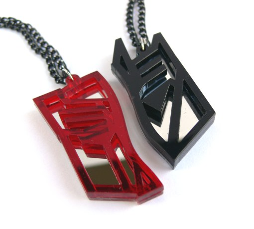 Transformers best friends necklaces Laser cut from red and black plastic