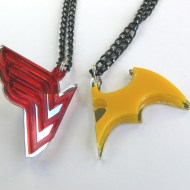 Wonder Woman Batwoman best friends girls necklaces Laser cut from red and yellow plastic