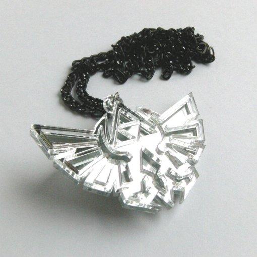 Zelda necklace - Hyrule royal crest laser cut mirror plastic