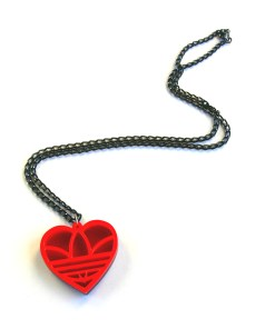 Heart shaped Adidas necklace Laser cut from red acrylic