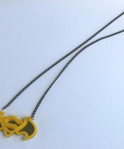 Batman Superman necklace Laser cut yellow plastic pendant