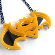 Batman Superman necklace Laser cut yellow plastic pendant
