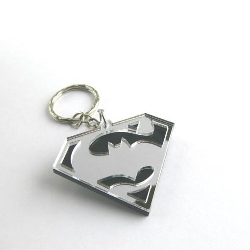 Batman v Superman keychain Laser cut black and mirror acrylic
