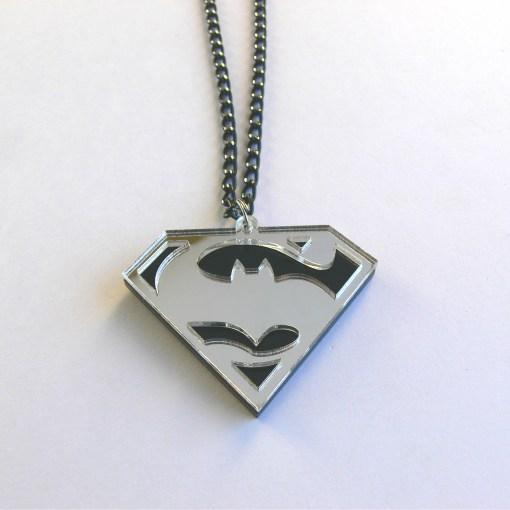 Batman v Superman necklace Laser cut black and mirror acrylic