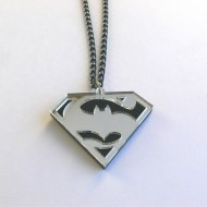 Batman v Superman necklace Laser cut black and mirror acrylic