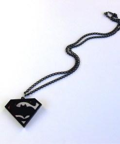 Dark Knight v Man Steel necklace Laser cut mirror and black acrylic