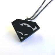 Dark Knight v Man Steel necklace Laser cut mirror and black acrylic