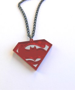 Batman Superman duel necklace Laser cut mirror and red acrylic