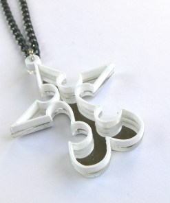 Kingdom Hearts necklace Nobody Emblem Laser cut from mirror and white plastic