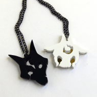 LoL Kindred friendship necklaces Laser cut black and white acrylic
