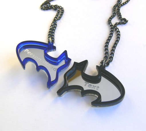 Personalized text Batman best friends necklaces Laser cut blue black acrylic 6