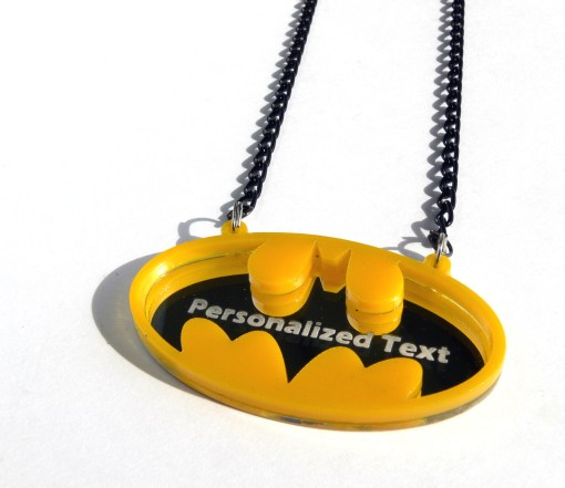 Batman personalized text necklace Laser cut from mirror and yellow plastic