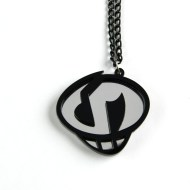 Team Skull necklace Laser cut mirror and black acrylic