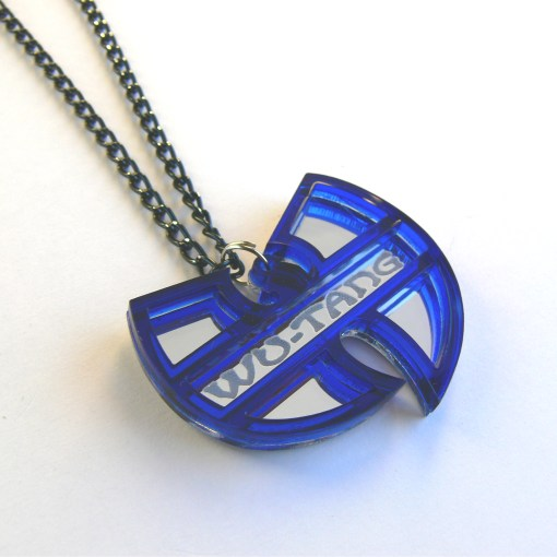 Wu Tang necklace Laser cut mirror blue acrylic 3