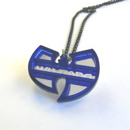 Wu Tang Clan fan necklace Laser cut mirror and blue acrylic