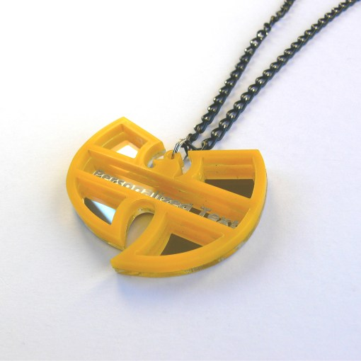 Wu Tang necklace Laser cut mirror yellow acrylic 4