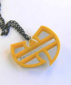 Wu Tang Clan personalized text necklace Laser cut mirror and yellow acrylic